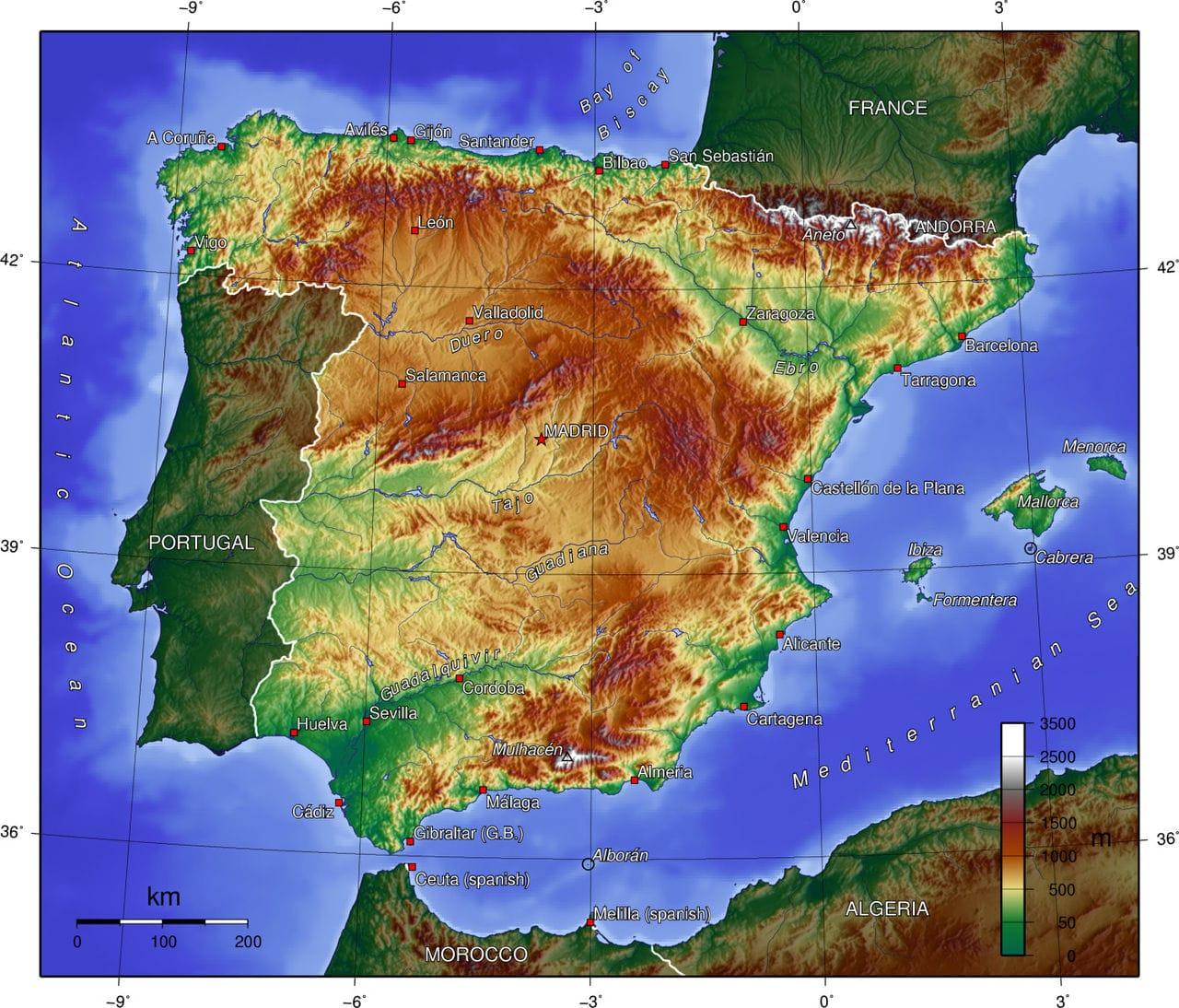 reliefkaart Spanje 2